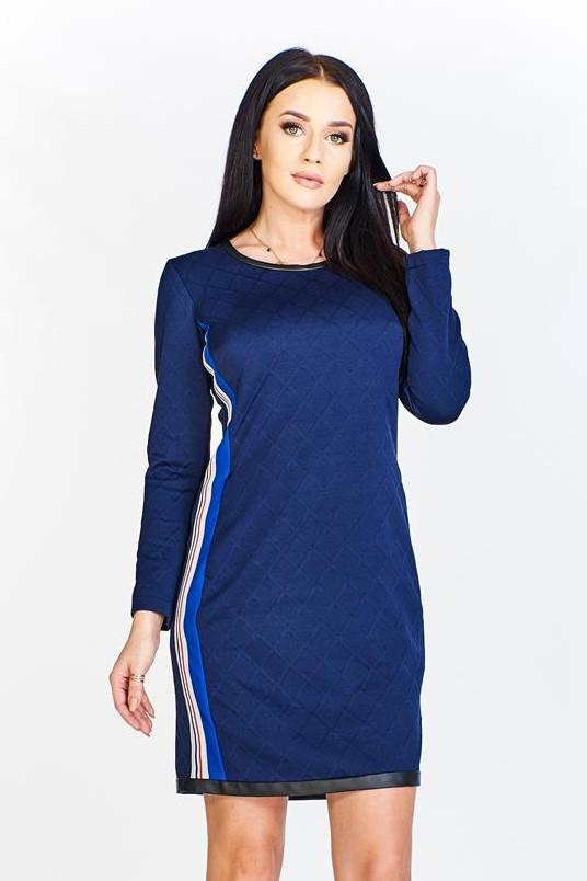 Prešívané modré šaty - 38