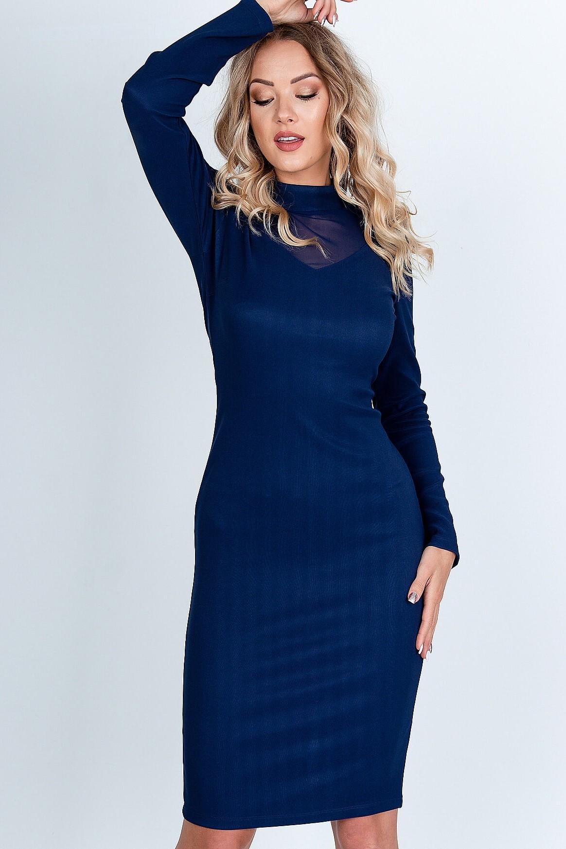 Puzdrové midi modré šaty so sieťkovaným výstrihom