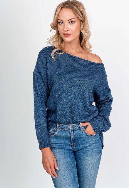 Asymetrický modrý pletený sveter