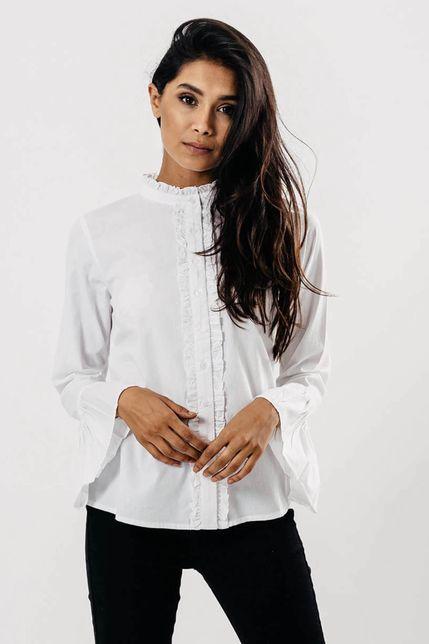 Biela dámska košeľa s volánikmi
