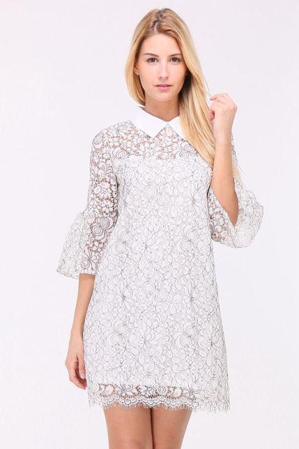 Biele čipkované mini šaty s golierom