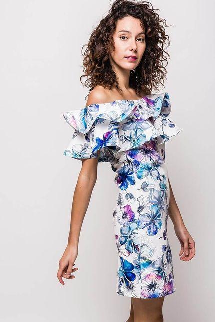 61a81e85b Biele kvetované midi šaty s volánovým výstrihom - ROUZIT.SK