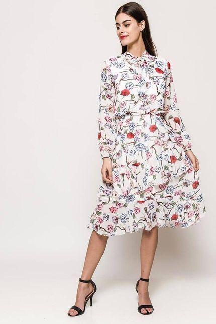 Biele midi šaty s kvetinovým vzorom a golierom