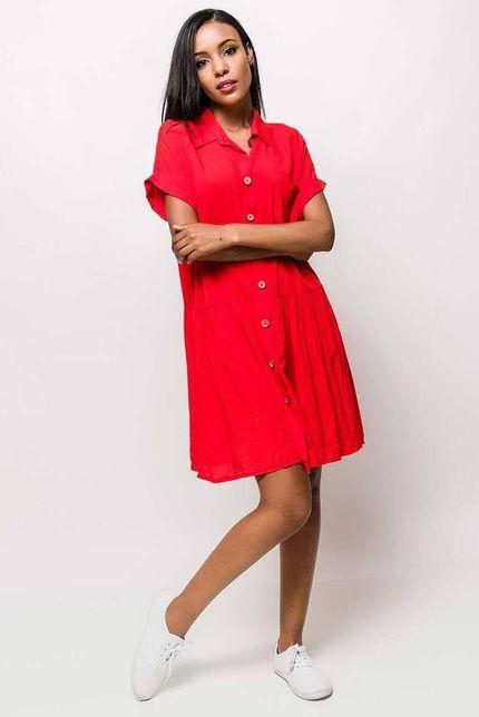 92fb05825dbe Červené košeľové midi šaty s krátkym rukávom - ROUZIT.SK