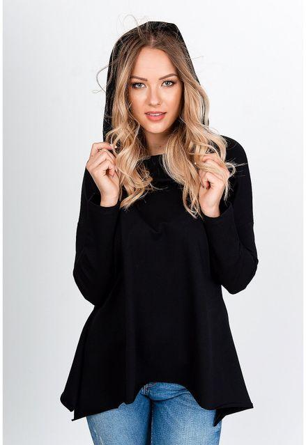 Čierna tunika s dlhým rukávom a kapucňou