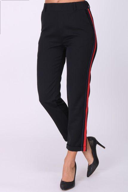 Dámske čierne nohavice s červeno-modrým pásikom