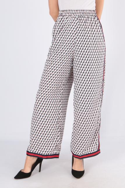 Ružové vzorované dámske nohavice s pásikom
