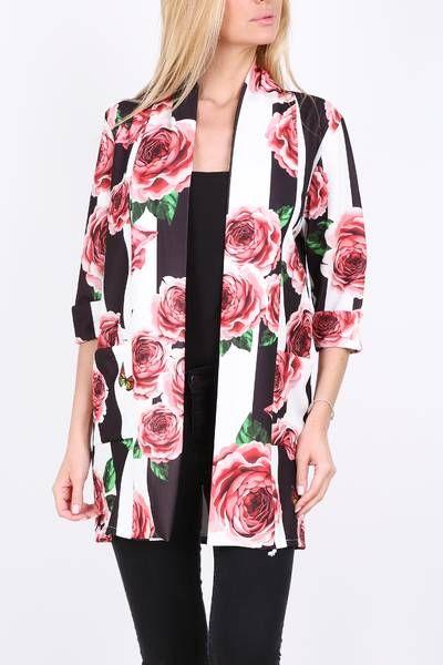 Čierno-biele dámske sako s kvetinovou potlačou