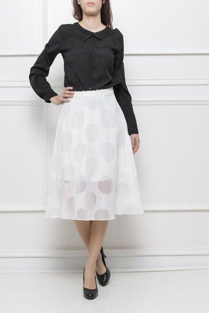 Dámska biela sukňa s guličkovým vzorom