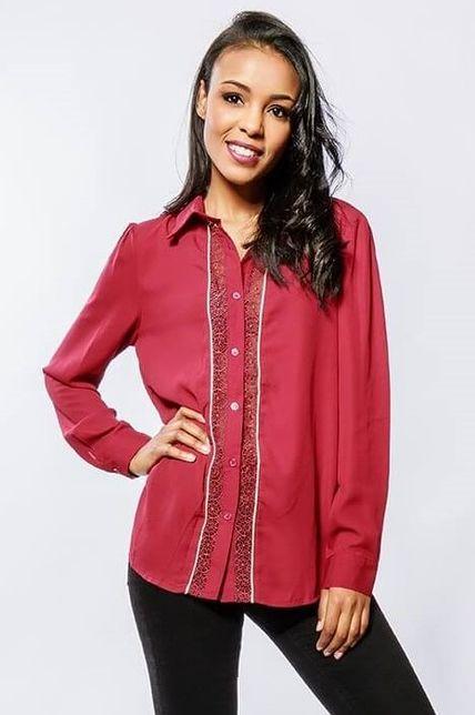 Dámska bordová košeľa s krajkou