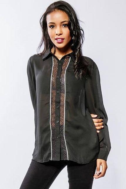 Dámska čierna košeľa s krajkou