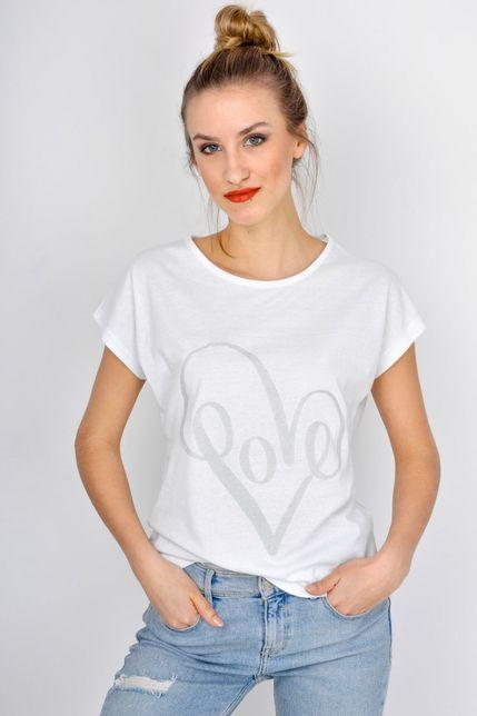 9ad4950b789f Dámske biele tričko so srdiečkom - ROUZIT.SK