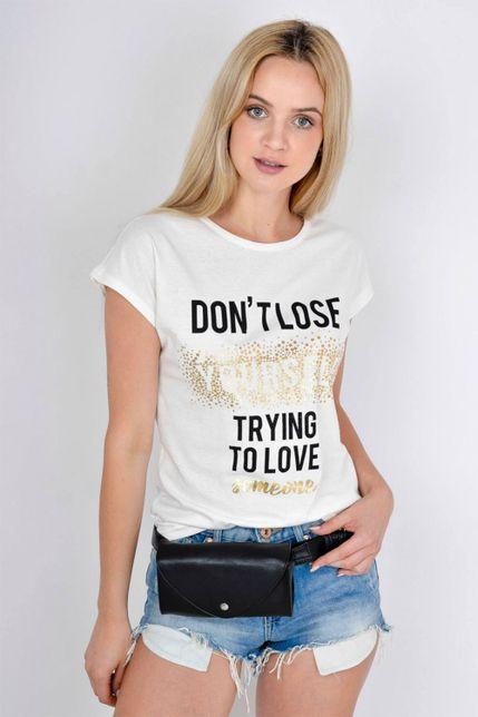 6742df95e83d Dámske biele tričko so zlatou potlačou a krátkym rukávom - ROUZIT.SK