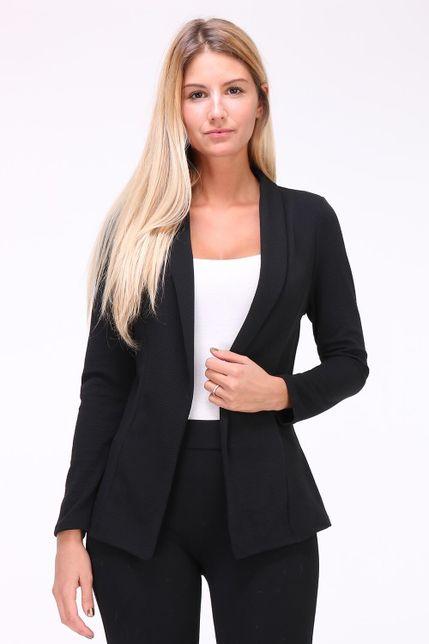 bc2aee5682 Dámske čierne sako s dlhými rukávmi zväčšiť obrázok. Jednoduché dámske sako čiernej  farby s golierom bez zapínania.