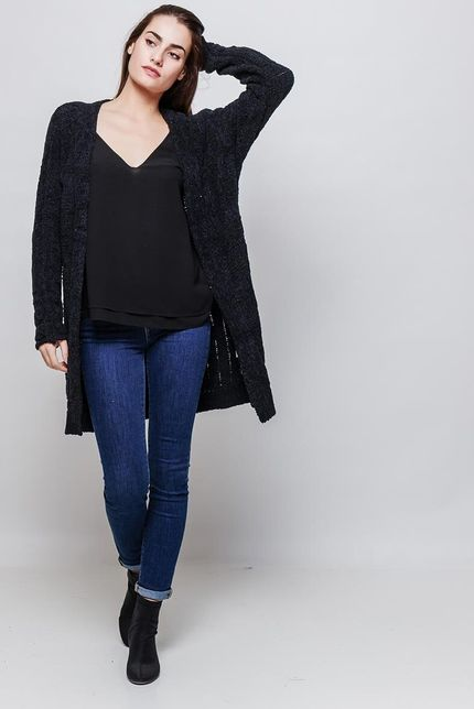 Dámsky čierny plyšový kardigan s dlhými rukávmi