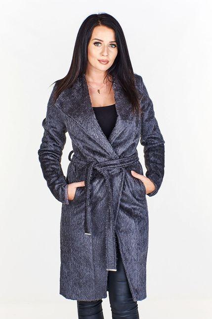 Dámsky dlhý vlnený šedý kabát s opaskom