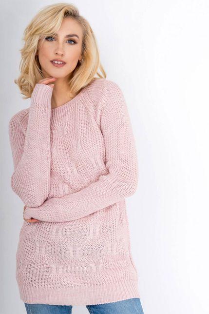 Teplý svetlo-ružový vzorovaný dámsky sveter