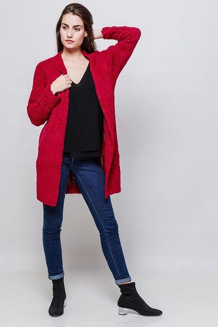 Dámsky červený plyšový kardigan s dlhými rukávmi