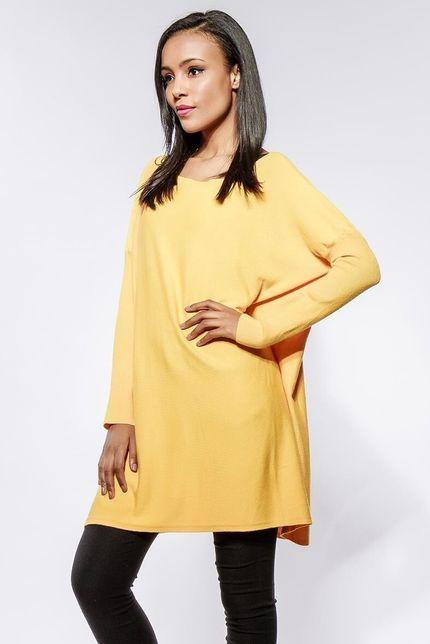 Dámsky horčicový oversize sveter s dlhými rukávmi