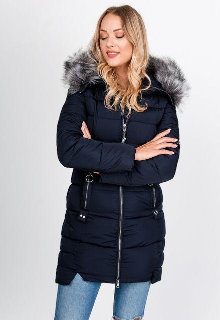 Dlhá tmavomodrá prešívaná bunda s kožušinkou