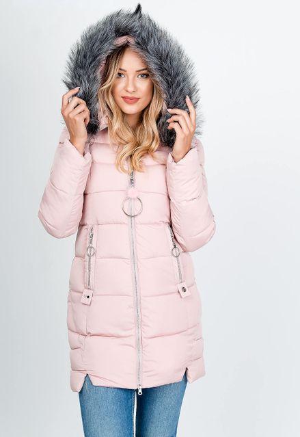 Dlhá ružová prešívaná bunda s kožušinkou