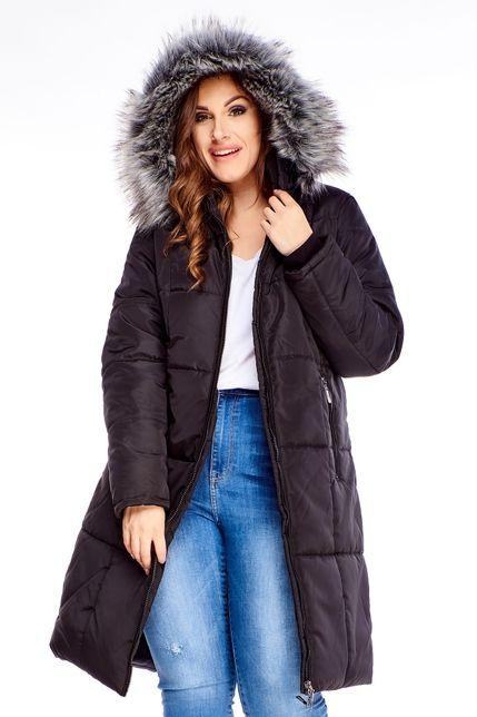 Dlhá čierna zimná bunda s kapucňou