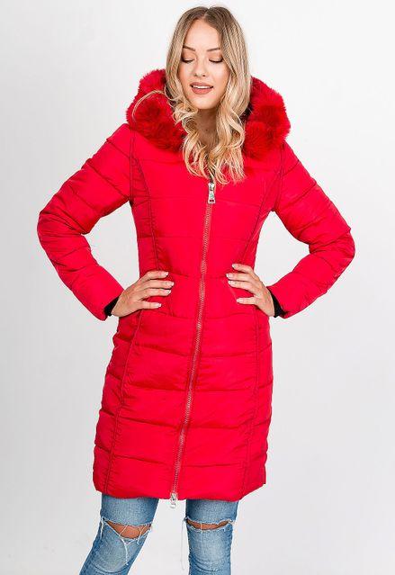 Dlhá červená prešívaná bunda s kapucňou