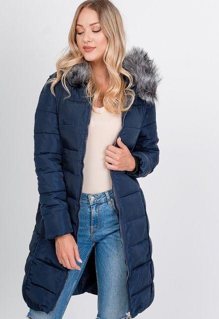 Dlhá tmavomodrá prešívaná bunda s kapucňou