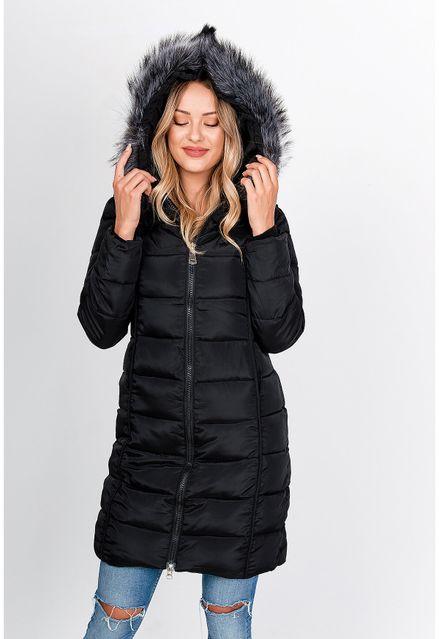 Dlhá čierna prešívaná bunda s kapucňou