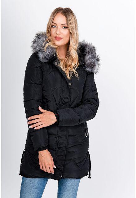 Dlhá čierna zimná prešívaná bunda