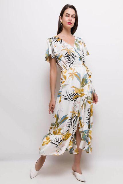 Dlhé biele letné kvetované šaty