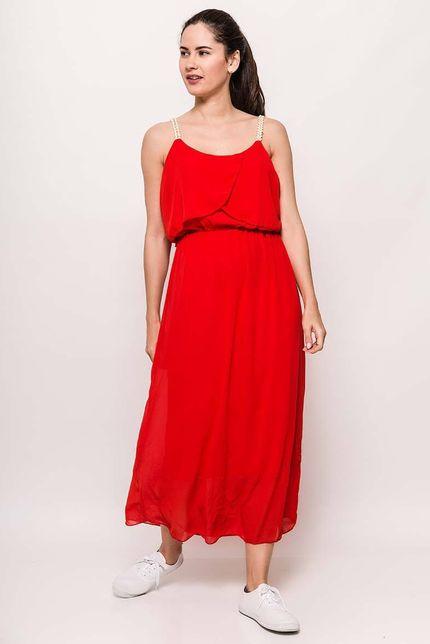 8650c6faf9ed Dlhé červené šaty na ramienka zväčšiť obrázok. Dámske červené maxi ...