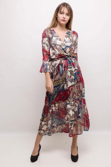 b07bc0eea25c Dlhé elegantné šaty s volánovými rukávmi - ROUZIT.SK