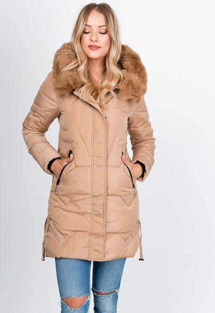 Dlhá béžová zimná prešívaná bunda