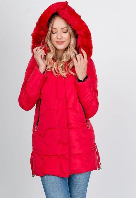 Dlhá červená zimná prešívaná bunda