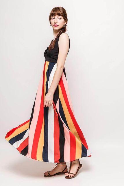 f555b7322f0b Dlhé pruhované šaty na ramienka zväčšiť obrázok. Letné farebné maxi ...