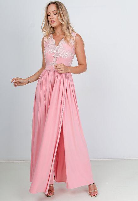 Dlhé spoločenské šaty ružovej farby