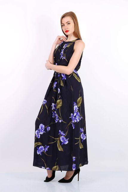 Dlhé čierne kvetované letné šaty