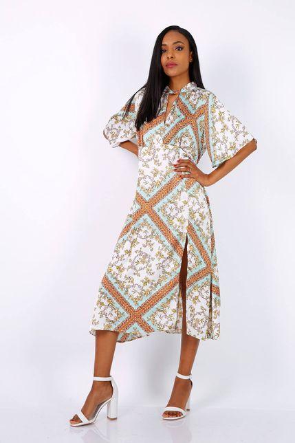 Dlhé vzorované tyrkysové šaty s rozparkom