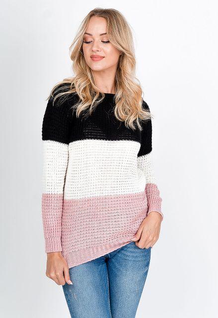 Dlhý sveter so širokými pruhmi