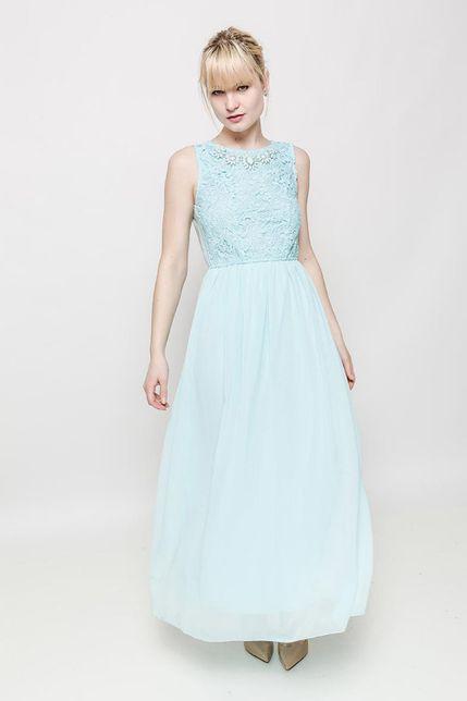 Elegantné dlhé šaty s čipkovaným topom