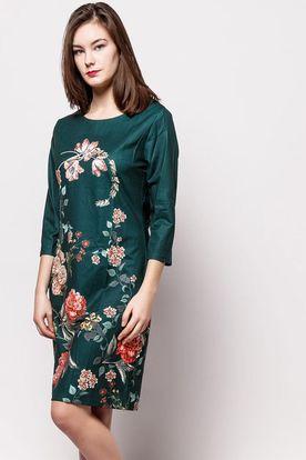 Elegantné tmavozelené kvetované šaty s trojštvrťovým rukávom b9564162370