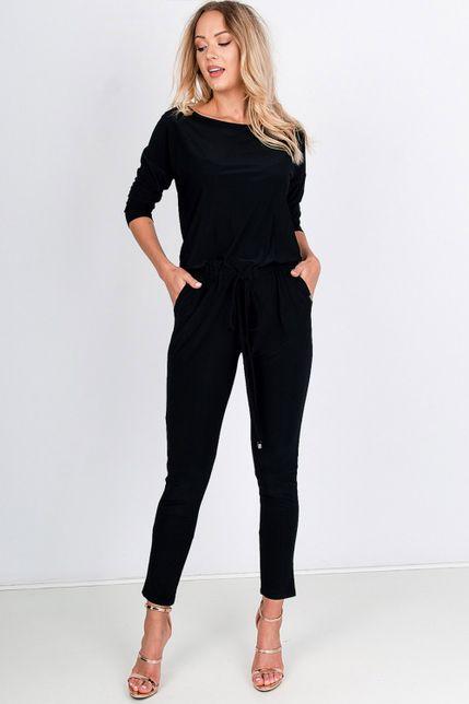 Elegantný dlhý čierny overal