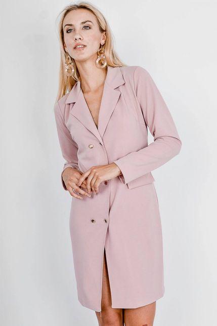 Elegantné ružové sako so zlatými gombíkmi