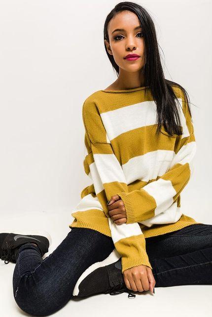 Horčicovo-biely oversize pruhovaný dámsky sveter