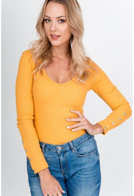 Horčicový bavlnený sveter s gombíkmi na rukávoch