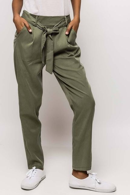 Dámske kaki nohavice s opaskom