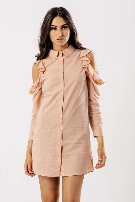 4d8b6edc4fc3 Košelové letné mini šaty s odhalenými ramenami - ROUZIT.SK