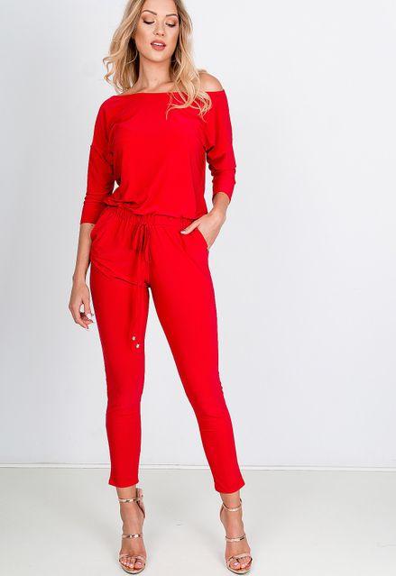 Elegantný dlhý červený overal