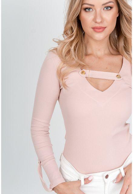 Elegantné ružové body s dlhým rukávom